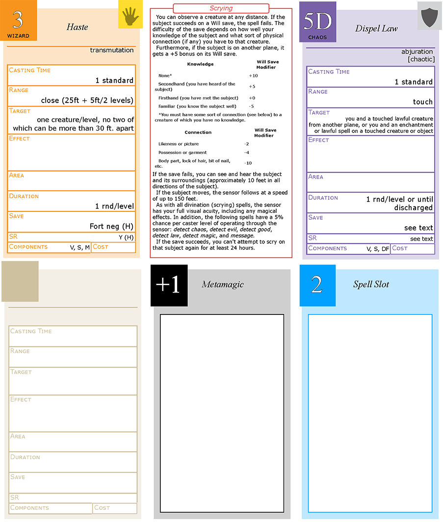 Pathfinder spell card generator showing wizard spell front back cleric domain spell spell blank metamagic modifier and spell slot placeholder cards using the avery business card reheart Image collections